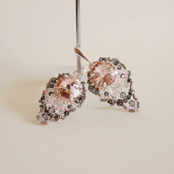 Mariage - SALE!!! 30% OFF! Love Story. Crystal earrings, Swarovski crystals, sparkling pink silver, OOAK, crystal beaded earrings, opal sand gray