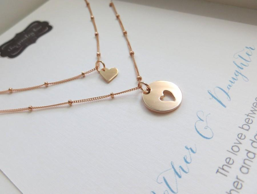 Mother Gift Daughter Rose Gold Jewelry Mom Birthday Sharable Set Heart Satellite Chain Necklaces Valentines Day