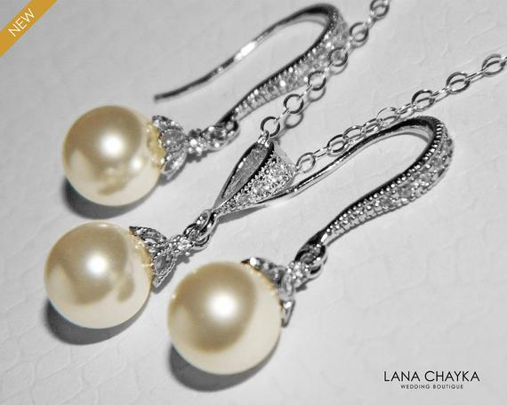 Wedding - Bridal Pearl Earrings and Necklace Set STERLING SILVER Small Drop Pearl Set Swarovski 8mm Ivory Pearl Necklace&Earring Set Wedding Jewelry