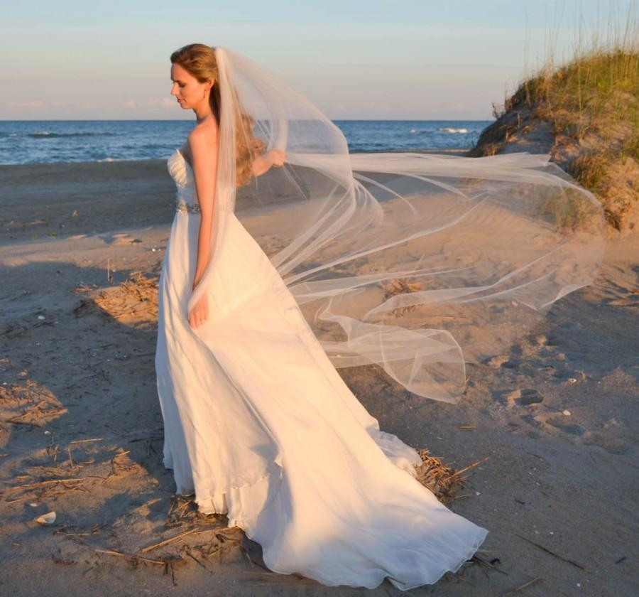 Mariage - Soft full Ballet length veil. Simple cut edge veil.  Bridal veil. WILLOW
