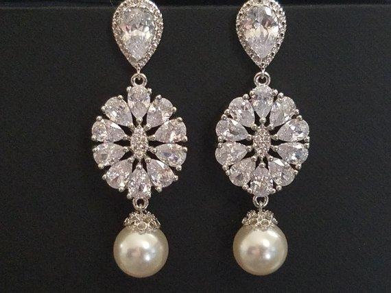 Wedding - Bridal Earrings, Wedding Earrings, Swarovski White Pearl Cubic Zirconia Earrings, Statement Earrings, Victorian Pearl Earrings Vintage Style
