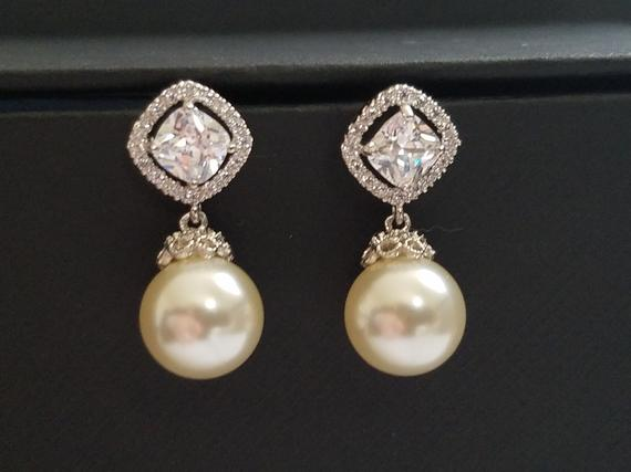 Wedding - Bridal Pearl Earrings Ivory Drop Pearl CZ Wedding Earrings Swarovski 10mm Pearl Earrings Wedding Pearl Jewelry Bridal Jewelry Pearl Earring