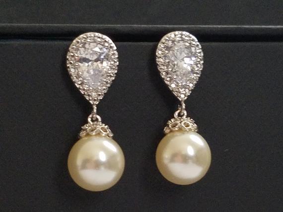 Wedding - Pearl Bridal Earrings Swarovski 10mm Ivory Pearl Drop CZ Earrings Wedding Pearl Earrings Cubic Zirconia Pearl Earrings Bridal Pearl Jewelry