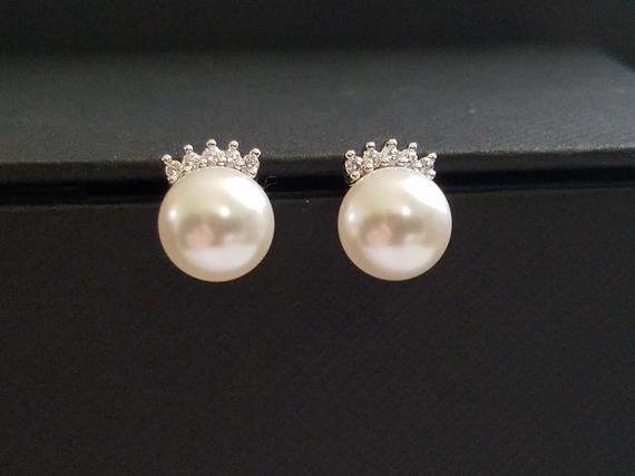 Wedding - White Pearl Wedding Earrings, Swarovski 8mm Pearl CZ Earrings, Bridal Pearl Earring Studs, Wedding Jewelry, Bridesmaids Earrings, Prom Studs