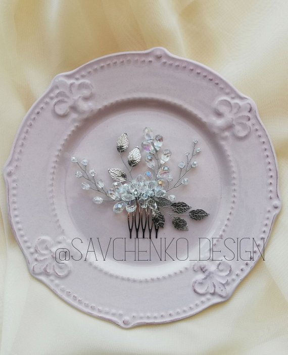 Wedding - Silver leafs Hair comb