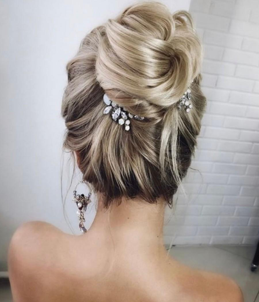 Mariage - Wedding Hair Pins Pair Opal Hair Pins Bridal Hair Pins Set of TWO Wedding Opal Stone for Bride Mini Comb PAIR Jeweled Mini Combs Clips
