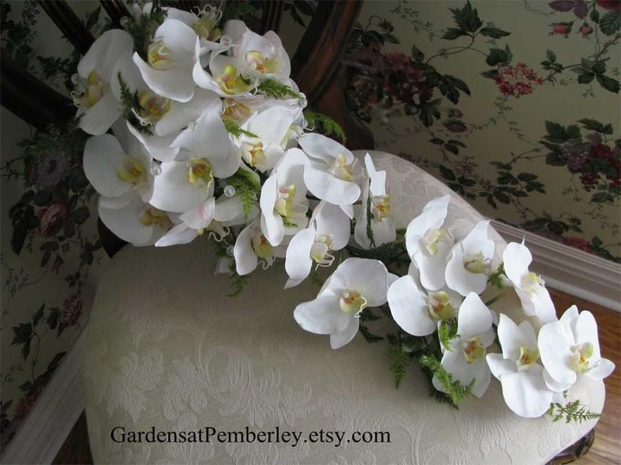 Mariage - White Phalaenopsis Orchid True Touch Silk Bridal Bouquet
