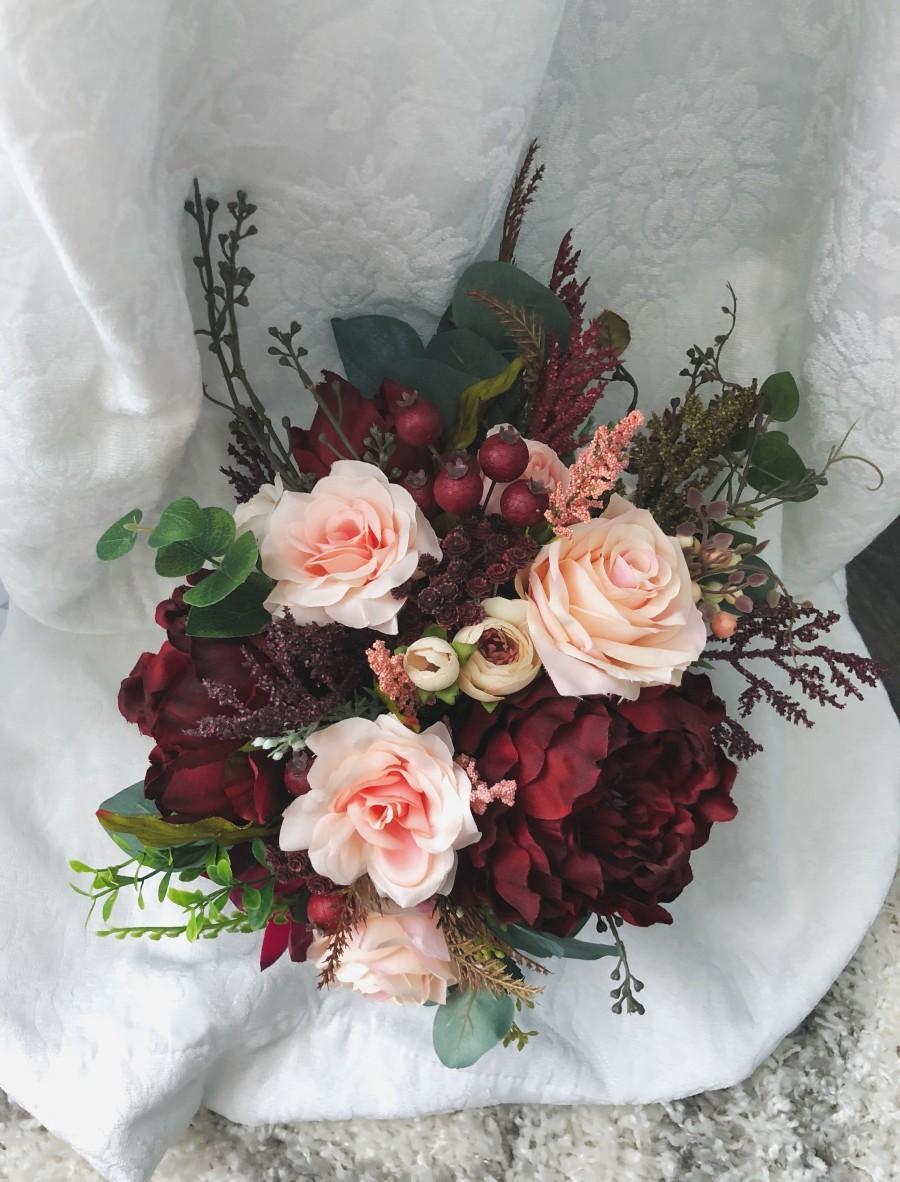 Mariage - Wedding Bouquet Burgundy Red Peony Eucalyptus Wedding Maroon Package Handmade Artificial Faux Flowers Wedding Decor
