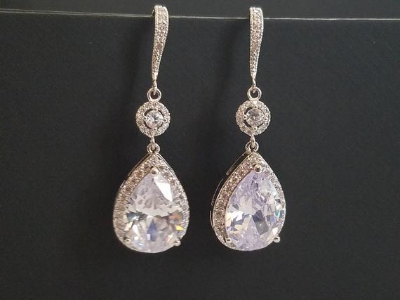Mariage - Cubic Zirconia Bridal Earrings, Teardrop Crystal Wedding Earrings, CZ Chandelier Dangle Earrings, Sparkly Crystal Halo Earrings Prom Jewelry