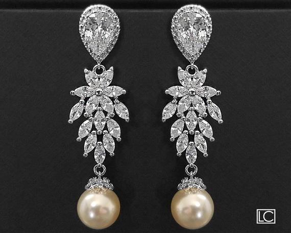 Wedding - Wedding Cubic Zirconia Pearl Chandelier Earrings, Swarovski Ivory Pearl Bridal Earrings, Vintage Style Earrings, Victorian Crystal Earrings