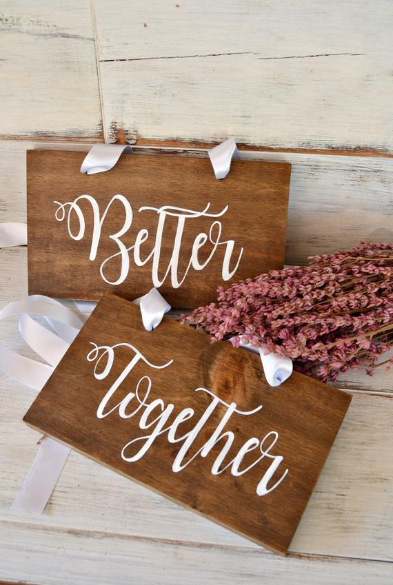 Свадьба - Better Together Signs, Bride and Groom Signs, Mr and Mrs Chair Signs, Sweetheart Table Signs, Bride and Groom Table Signs.