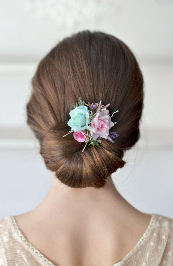 Wedding - Bridal flower hair clip Pink mint hair clip Floral head piece Wedding mint flower hair piece Pink rose hair clip Bridesmaids