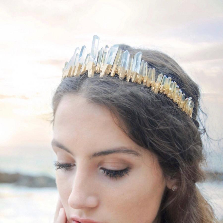 زفاف - Raw Quartz Crystal Crown,Wedding Crown,Bridal Crown,Wedding Tiara,Bridal Tiara,Wedding Headpiece,Wedding Headband,Festival Crown,Bridal Halo