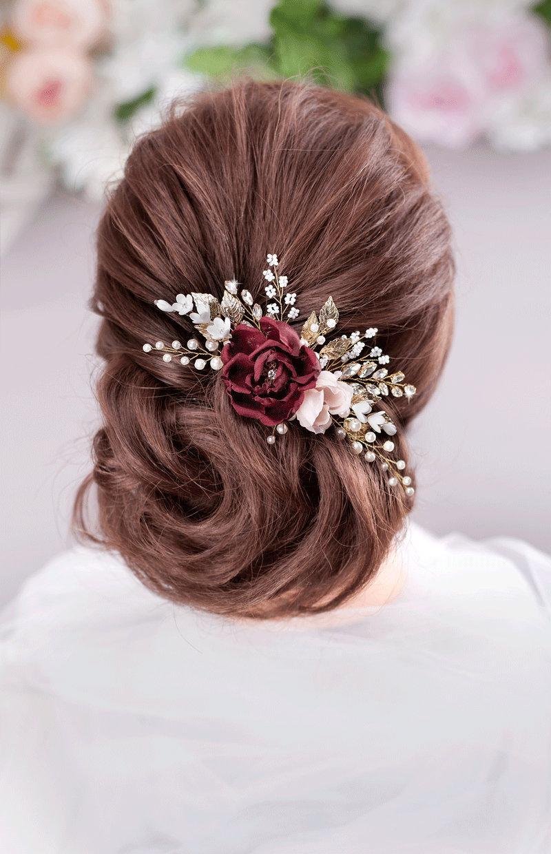f05cce5f3d2c8 Burgundy Blush Flower Comb Burgundy Wedding Maroon Flower Comb ...