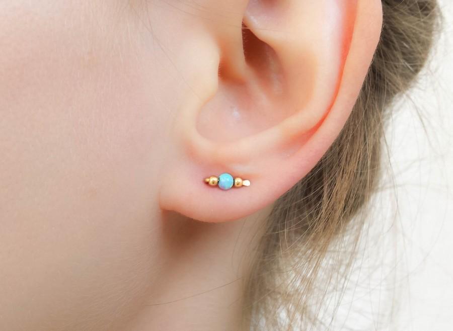 VALENTINE'S GIFT Ear Climber, Opal Studs Gold, Opal
