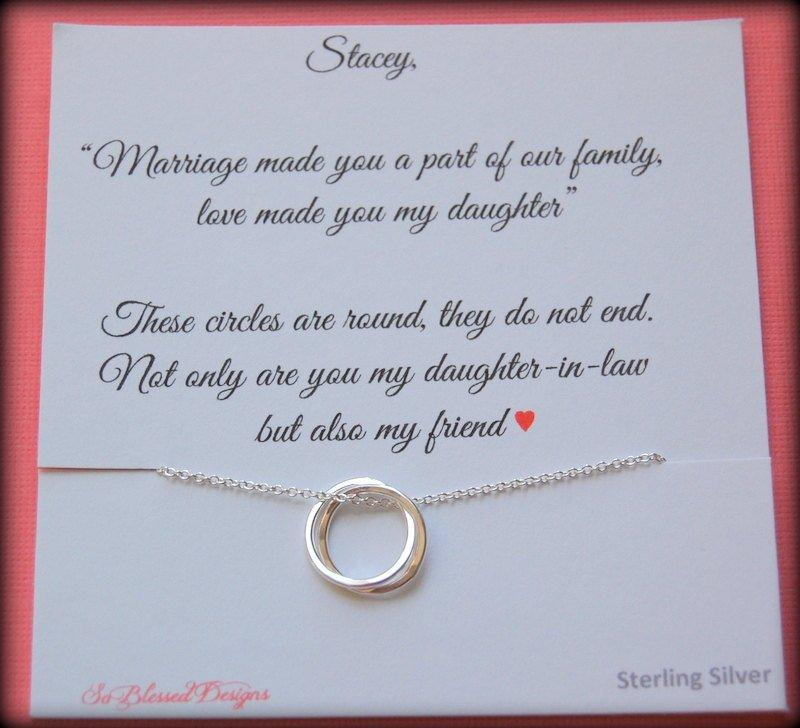 Gift For New Daughter In Law From Mother POEM Wedding Birthday Connecting Circles Necklace