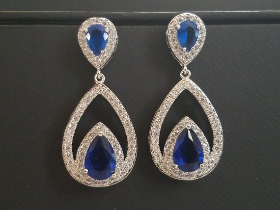 Wedding - Bridal Crystal Earrings, Navy Blue Cubic Zirconia Earrings, Blue Teardrop Wedding Earrings, Statement Earrings Sapphire Blue Dangle Earrings