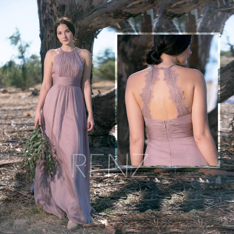 Свадьба - Bridesmaid Dress Rose Gray Chiffon Party Dress,Ruched Halter Maxi Dress,Illusion Open Back Prom Dress,A-line Sleeveless Evening Dress(H583)