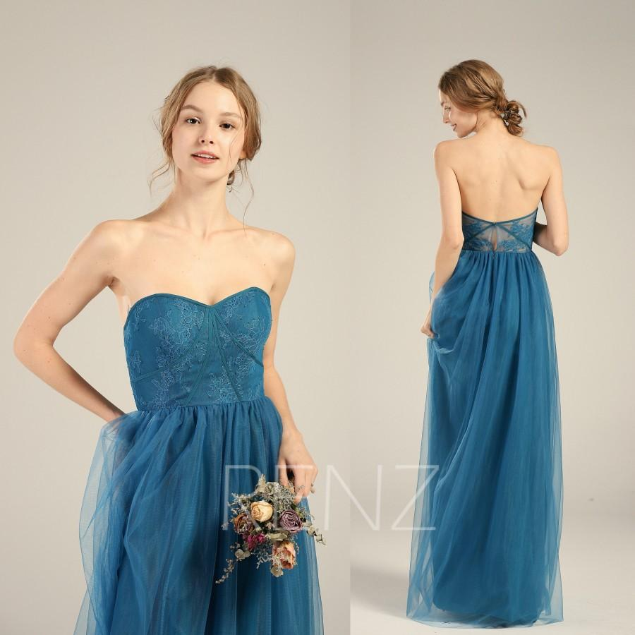 Mariage - Bridesmaid Dress Ink Blue Tulle Wedding Dress,Illusion Lace Sweetheart Strapless Maxi Dress,Open Back Party Dress,A Line Prom Dress(LS407)