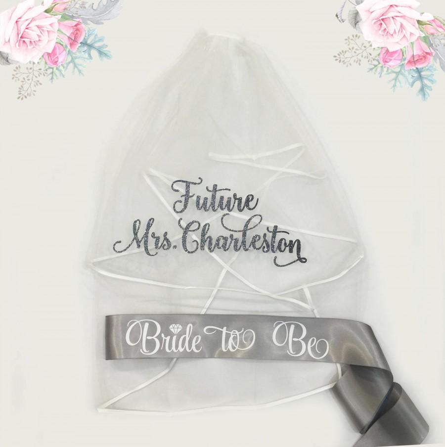 Свадьба - Bachelorette Veil and Sash, Future Mrs Veil, Personalized Veil, Bride to Be Sash, Bachelorette Party Veil, Bridal Shower Veil and Sash