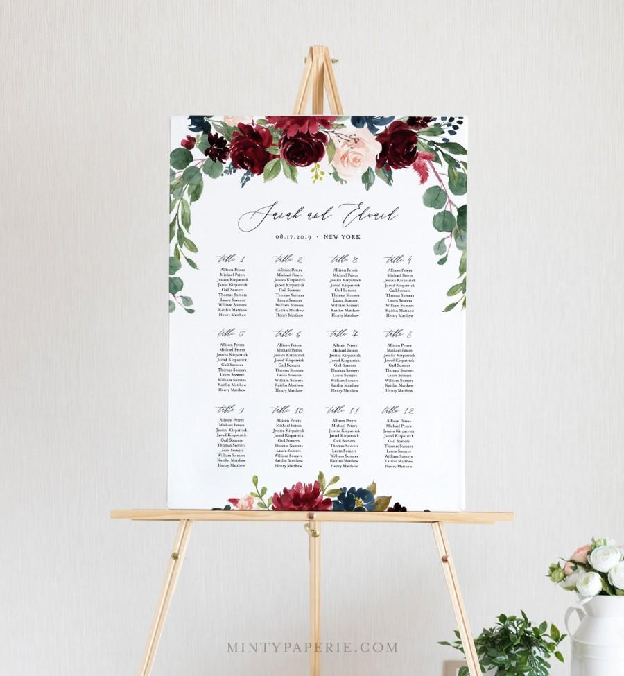 Mariage - Wedding Seating Chart Template, Printable Boho Merlot & Blush Floral Seating Sign, 100% Editable Text, INSTANT DOWNLOAD #062-227SC
