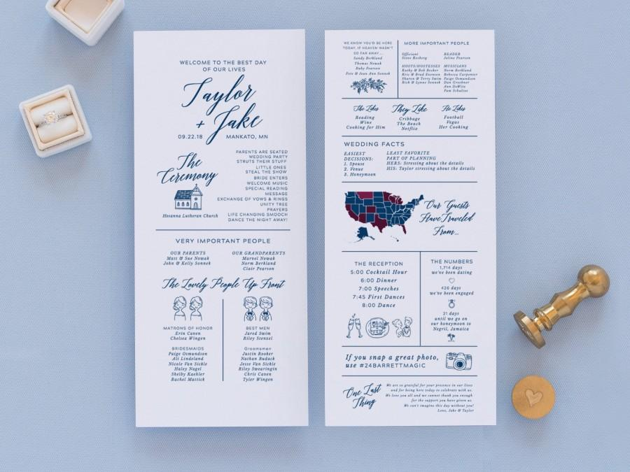 Hochzeit - infographic wedding program template, fun wedding programs, non traditional wedding program, 100% editable in templett
