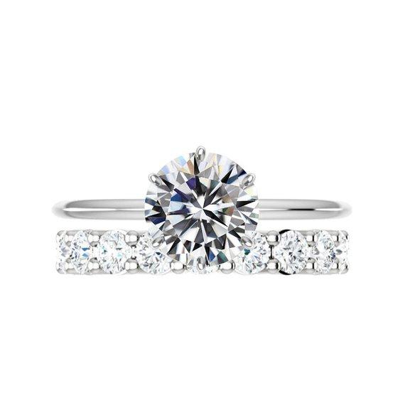 Свадьба - 3 Carat Round Moissanite Six Prong Knife Edge Solitaire Engagement Ring & Diamond Eternity Band Wedding Set, Raven Fine Jewelers