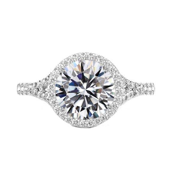 Свадьба - 5 Carat Round Moissanite & Diamond Halo Split Shank Engagement Ring 14k White Gold, 11mm Moissanite Engagement Ring, Raven Fine Jewelers