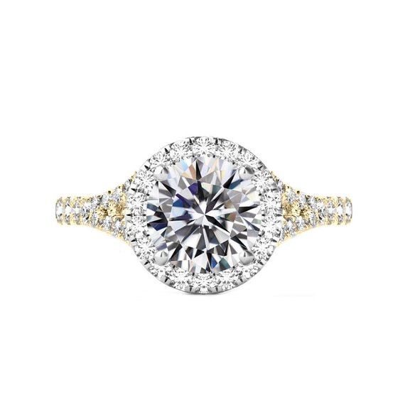 Свадьба - 3 Carat Round Moissanite & Diamond Halo Split Shank Engagement Ring 14k Two Tone Gold, 9mm Moissanite Engagement Ring, Raven Fine Jewelers