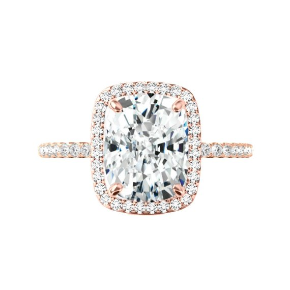 Wedding - 5 Carat Elongated Cushion Moissanite & Diamond Halo Engagement Ring 14k Rose Gold 11x9mm, Moissanite Engagement Ring, Handmade Rings