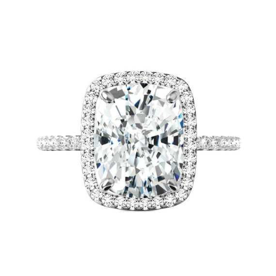 Wedding - 6.50 Carat Elongated Cushion Moissanite & Diamond Halo Engagement Ring 12x10mm, Moissanite Engagement Ring, Handmade Rings