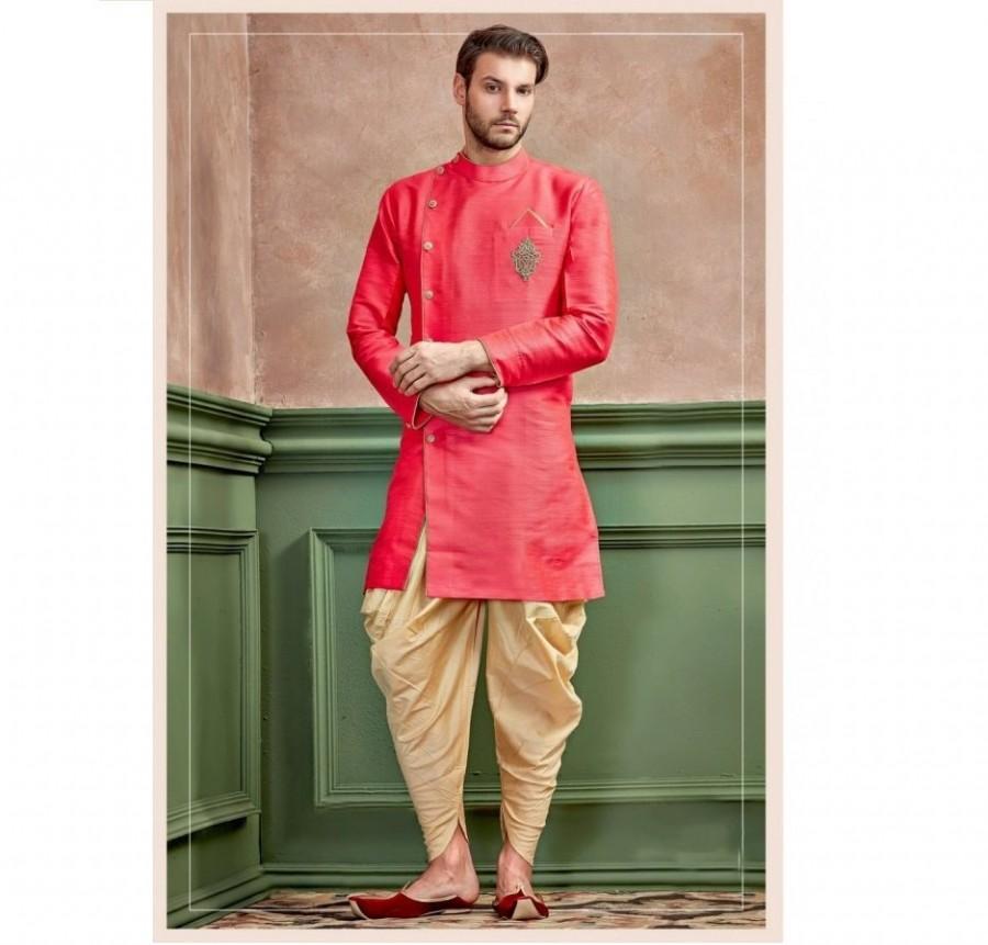Wedding - Red Silk Kurta Set With Closed Collar Neck for men / shervani for men / kurta set / Sherwani / ethnic wear / Groom kurta / Groom sherwani