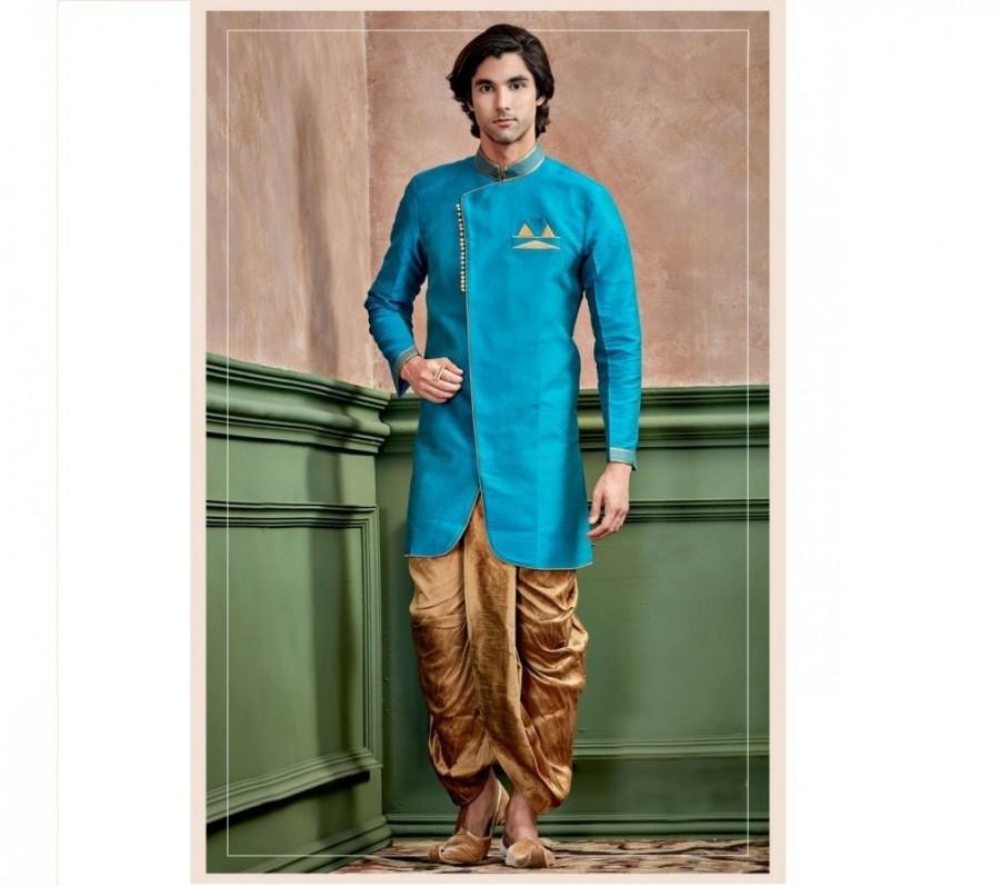 Mariage - Turquoise Blue Silk Kurta Set for men / shervani for men / kurta set / Sherwani / ethnic wear / Groom kurta / Groom sherwani
