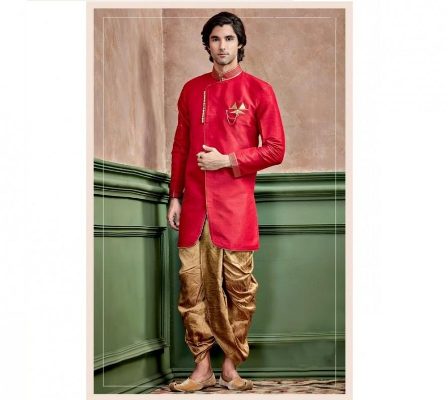 Свадьба - Dark Red Silk Kurta Set for men / shervani for men / kurta set / Sherwani / ethnic wear / Groom kurta / Groom sherwani