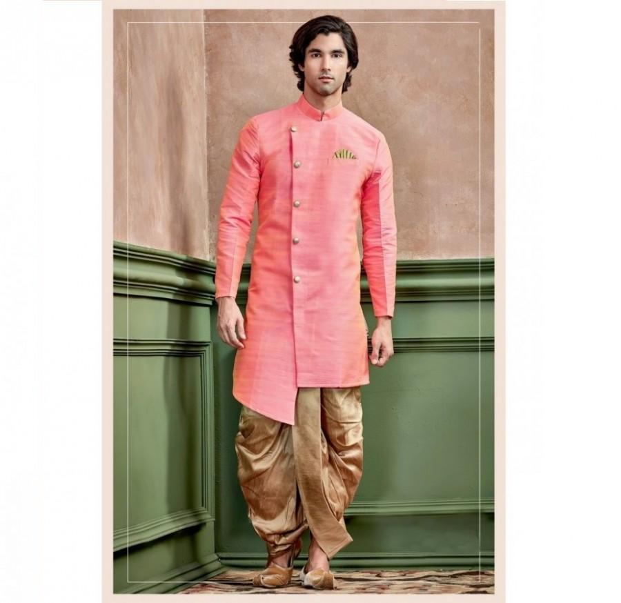 Mariage - Peach Color Silk Kurta With Stand Collar for men / shervani for men / kurta set / Sherwani / ethnic wear / Groom kurta / Groom sherwani