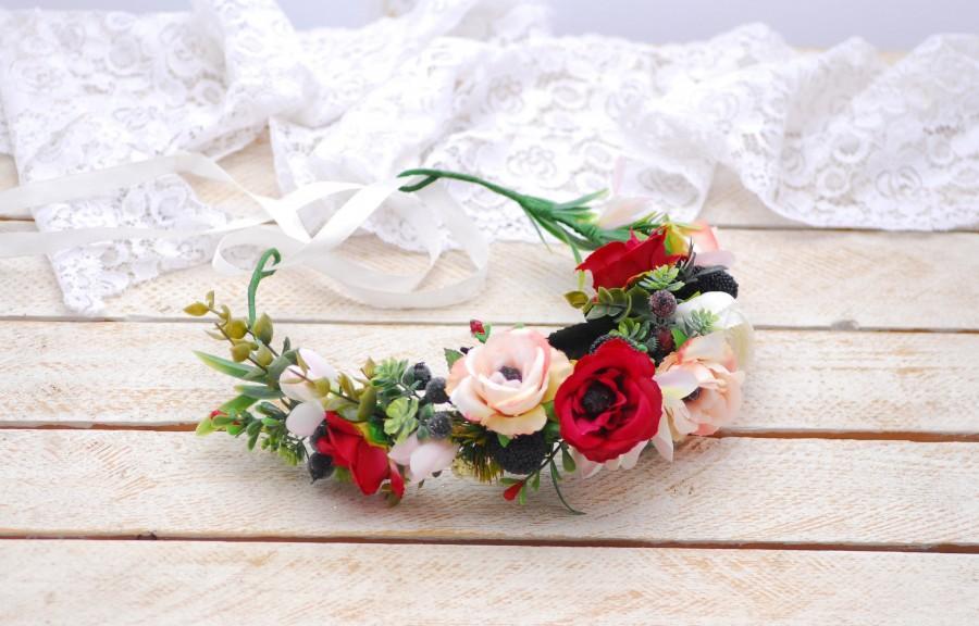 Mariage - White Red flower crown Wedding flower crown Bridal flower crown Bohemian flower crown Bridal hair wreath Wedding halo Flower headband