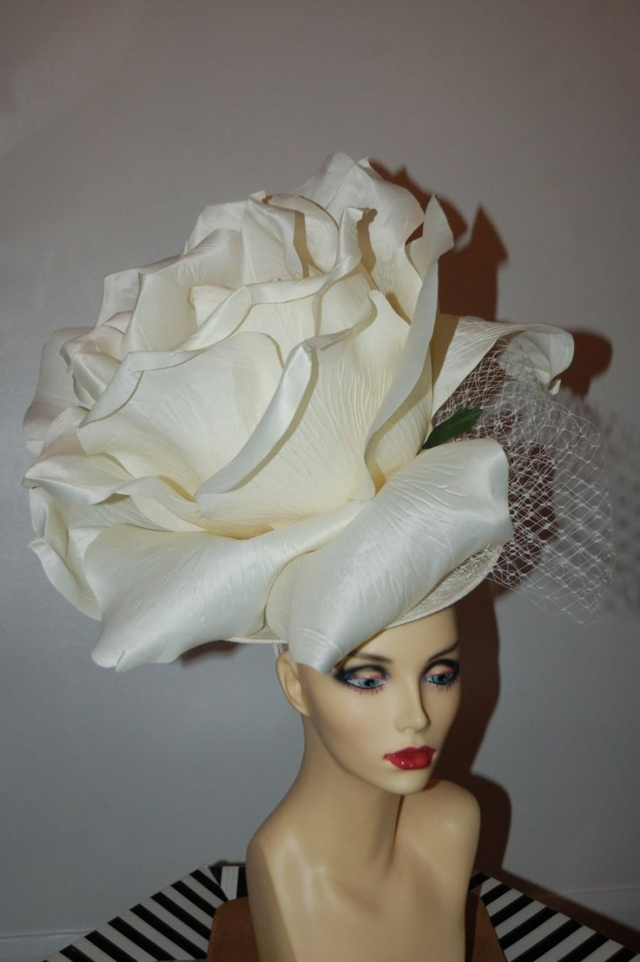 Свадьба - Giant oversized 50cm ivory rose fascinator with ivory merry widow netted bow on wide aliceband