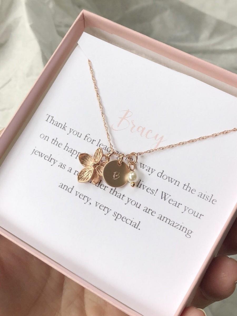 Mariage - Rose gold flower girl necklace, toddler flower girl set, personalized flower girl gift, flower girl jewelry, little girl necklace