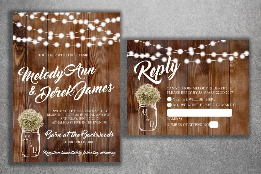Mariage - Country Wedding Invitations Set Printed, Rustic Wedding Invitation, Burlap, Kraft, Wood, Lights, Outside, Southern, Mason Jar, Barn
