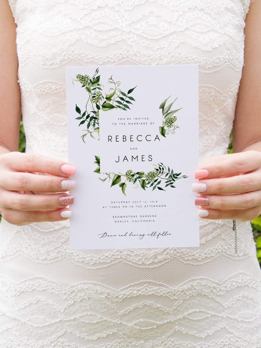 زفاف - Greenery Wedding Invitation Template Fern Leaves Printable Wedding Invitation DIY Templett PDF Instant Download Editable Rustic Wedding 02