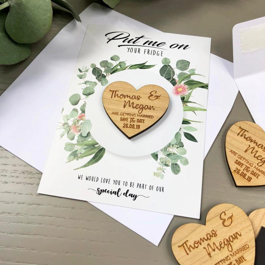 Mariage - Save The Date Magnet with Cards - Personalised Wedding Invitation Boho Heart Spring Summer Save-the-Date - Wooden Save The Dates - Botanical