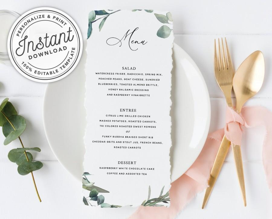 زفاف - Bohemian Greenery Menu with Eucalyptus (Bridal Shower, Wedding, Dinner, Brunch) • INSTANT DOWNLOAD • Printable, Editable Template #023