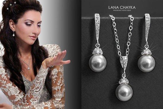 Wedding - Light Grey Pearl Jewelry Set Swarovski 8mm Light Grey Pearl Necklace&Earring Set Sterling Silver Cz Grey Pearl Set Bridal Bridesmaid Jewelry