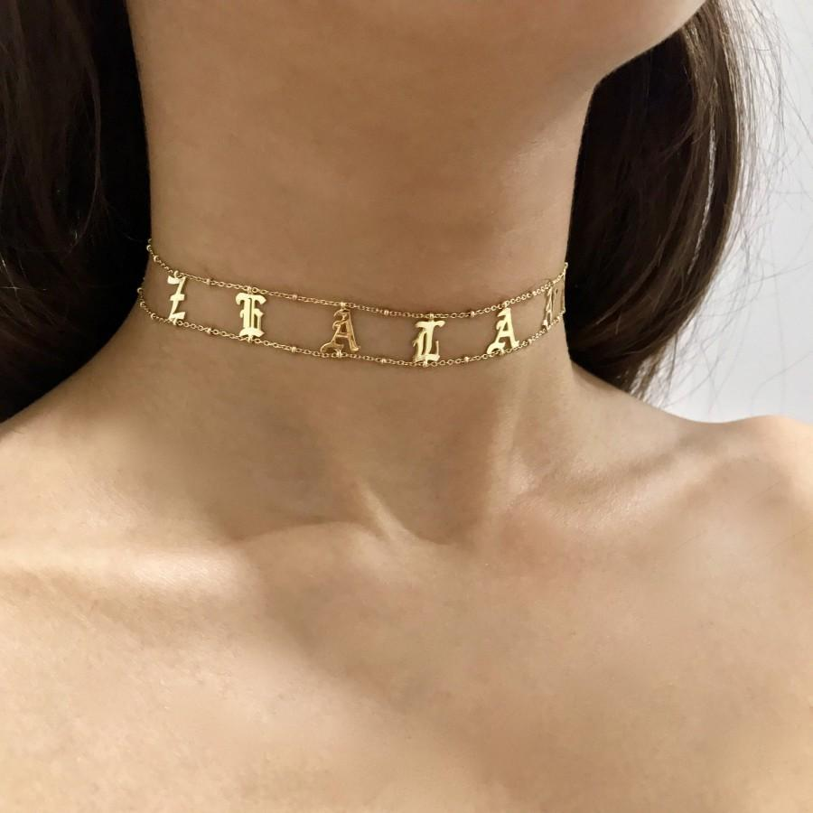 Mariage - Choker Necklace - Name Choker - Custom Name Choker - Name Plate Choker - Custom Jewelry - Choker Jewelry -Gothic Name Choker -Halloween gift