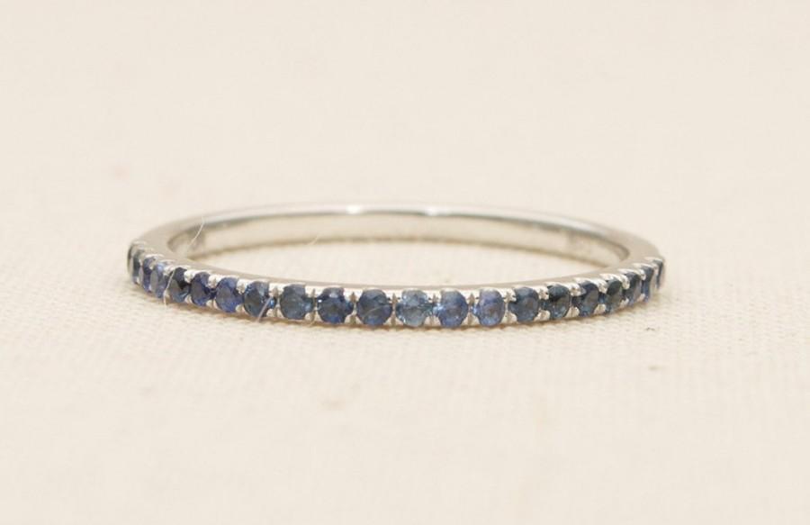 زفاف - Blue Sapphire Ring 1mm Half Eternity 18K Gold Pave Thin Wedding Band Stacking Rings Engagement Gift September Birthstone Handmade AD1103BLS