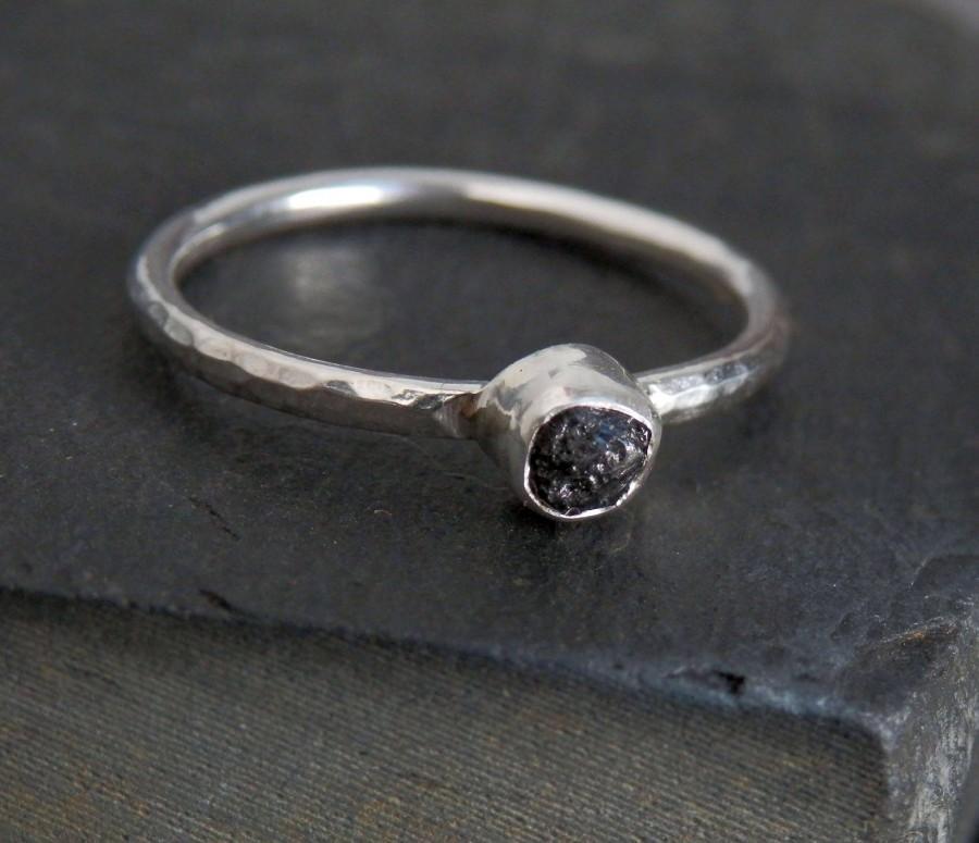 زفاف - Custom black diamond ring / raw diamond ring / rough diamond / wedding ring / engagement ring / natural diamond / black diamond ring