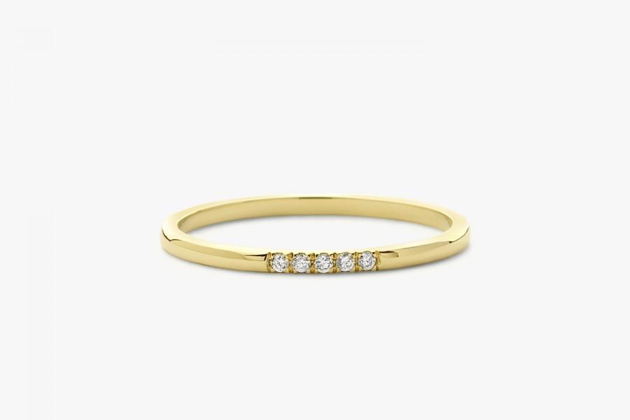 Свадьба - 14k Gold Diamond Wedding Band/ 5 Stone Yellow Gold Micro Pave Diamond Wedding Band/ Thin Diamond Wedding Ring/ Half Eternity Diamond Band