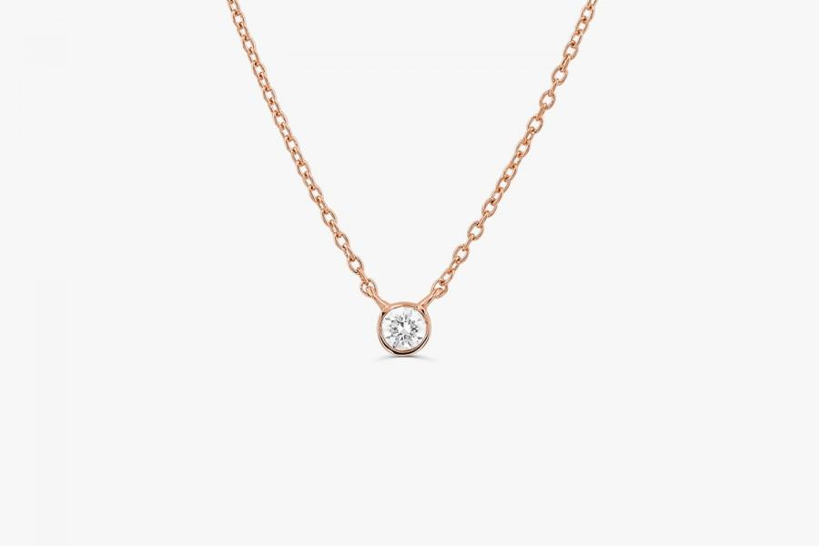 زفاف - Diamond Necklace / Dainty Solitaire Necklace 14k Gold / Diamond Bezel Necklace/ Gold Diamond Solitaire Necklace/ Delicate Necklace / jewelry