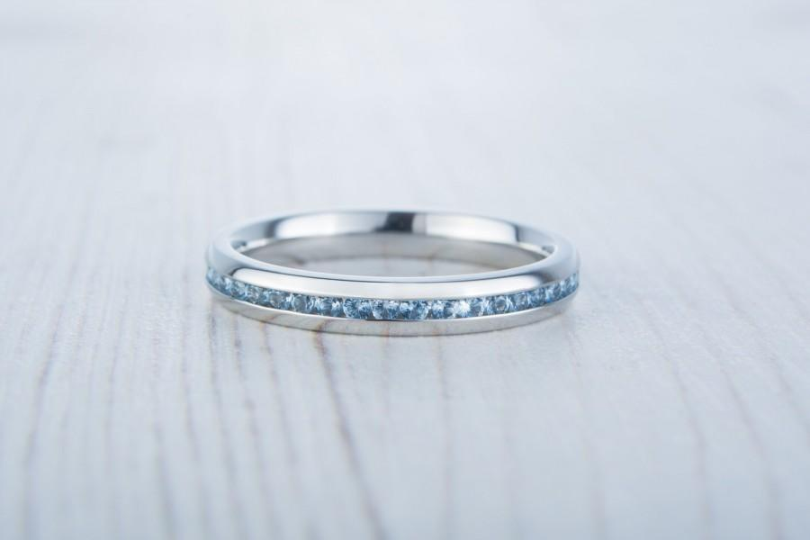 Wedding - Natural Aquamarine 3mm Wide Full Eternity ring / stacking ring in white gold or titanium - Wedding Band - Engagement ring