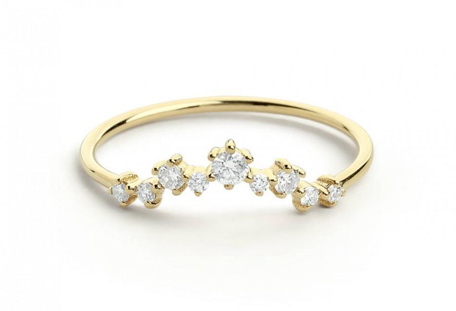 زفاف - Curved Diamond Ring / Diamond Cluster Ring / Curved Diamond Cluster Ring / 14kt Wedding Band / Diamond Engagement Ring, Bridal Jewelry